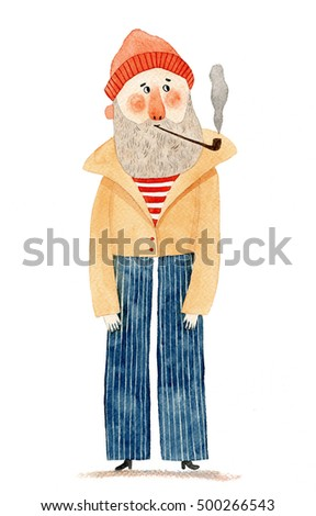 watercolor drawing of a bearded man. sailor illustration