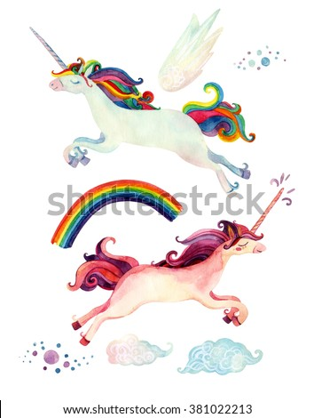 Watercolor fairy tale collection with flying unicorn, rainbow, magic clouds and fairy wings isolated on white background. Hand painted elements for kids, children design