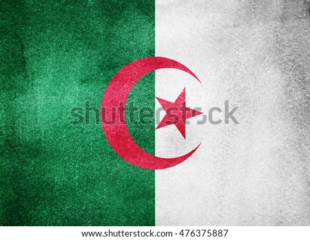 Watercolor flag background. Algeria