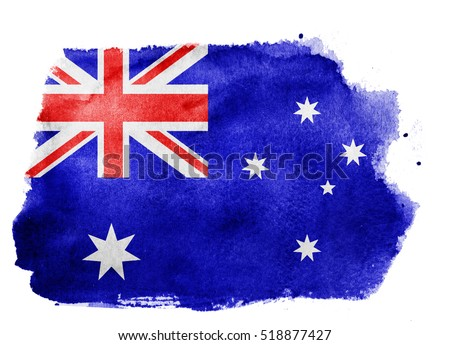 Watercolor flag background. Australia