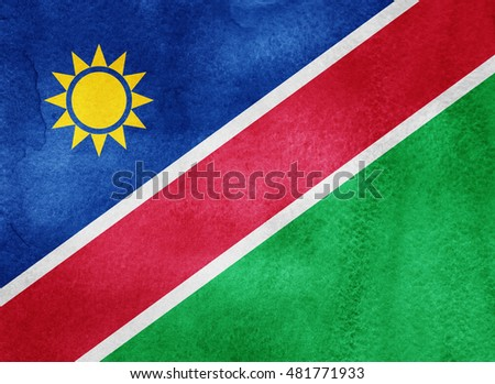 Watercolor flag background. Namibia