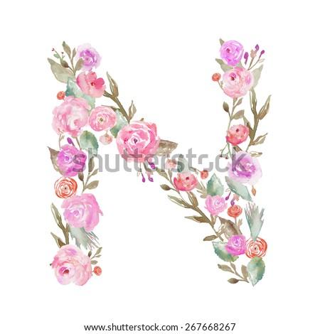 watercolor floral monogram letter m floral stock