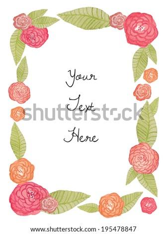 Watercolor Flower Frame. Cute Flower Frame. Leaves And Flower Square Frame. Wedding  Invitation