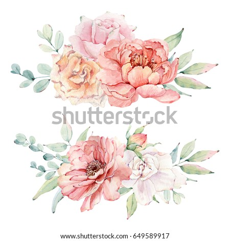 Watercolor Flowers Set Perfect Greeting Cards Stock