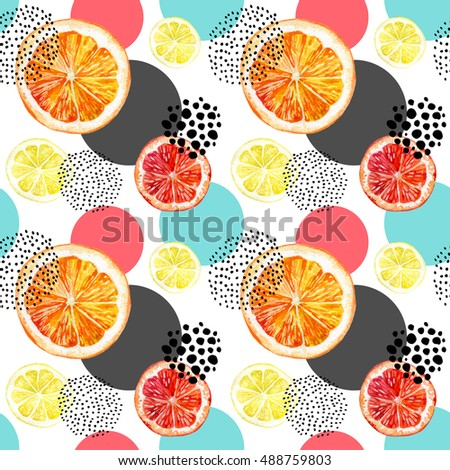 Watercolor fresh orange, lemon, grapefruit and colorful circles seamless pattern. Exotic fruits and abstract circles with grunge doodle textures on white background. Hand painted illustration