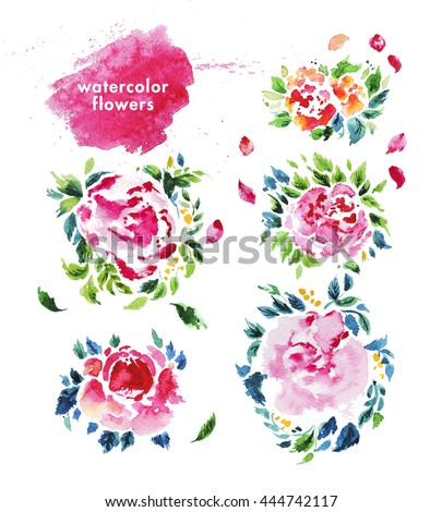 Watercolor hand drawn flower wreath for design artistic isolated - Set Watercolor Objects Sewing Handicraft Sewing Stock