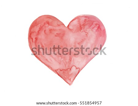 Watercolor heart art symbolise love