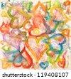 Watercolor hearts - stock photo