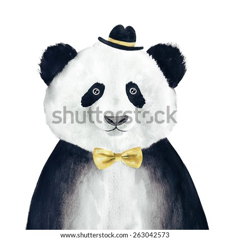 Watercolor hipster panda drawing. Hipster animal.