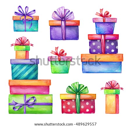 Shutterstockwacomkagift boxes watercolor holiday presents illustration wrapped gift boxes birthday party design elements set isolated on negle Image collections