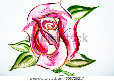 Watercolor illustration of a red rose bud with green leaves