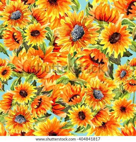 Watercolor illustration. Seamless pattern. Sunflowers - SO