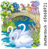Watercolor illustrations. Children for a walk in the park feeding the swans on the pond - stock photo
