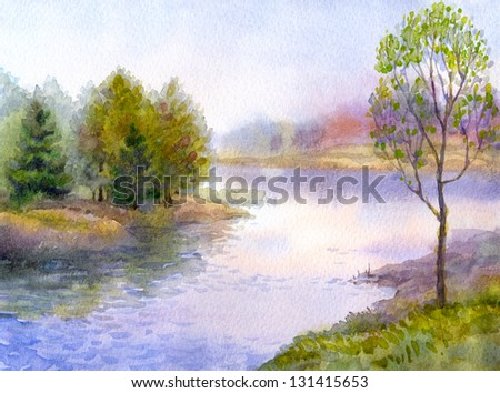 Watercolor landscape. Young tree on the bank of a quiet river
