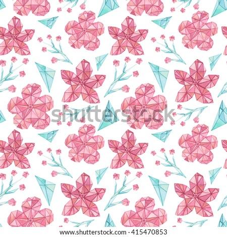 Watercolor Low Poly Flowers Seamless Pattern