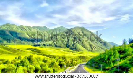 Summer mountain plateau landscape dirty road stockfoto for Terrace of the endless spring location