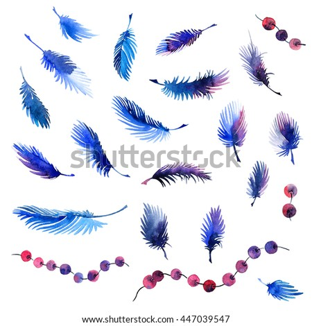Watercolor painted feathers and beads set. Decorative elements for design.