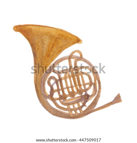 Watercolor painting Golden french horn in hard light isolated on white background