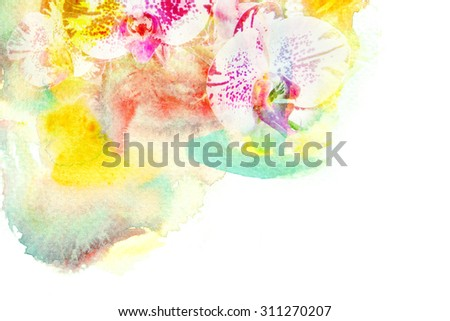 Watercolor painting illustration of blossom orchid. Artistic floral abstract background.