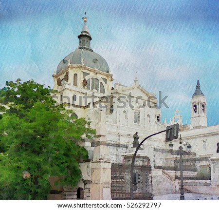 Watercolor painting of Almudena Cathedral in Madrid