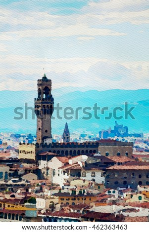 Watercolor painting of Florence, Italy