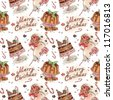 Watercolor pattern with Plum Pudding and Milk and cookies for Santa - stock photo