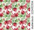 Watercolor pomegranate pattern - stock photo