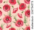 Watercolor poppy flowers, seamless pattern - stock vector