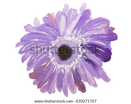 Watercolor purple flower on a white background