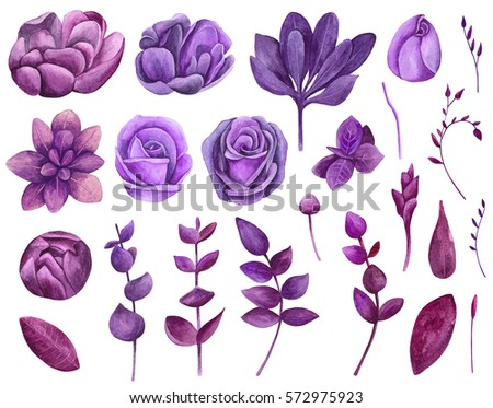 Watercolor Purple Flowers Clipart Floral Clip Stock Illustration ...