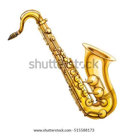 Watercolor saxophone. Music Illustration.