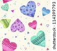 Watercolor seamless hearts pattern - stock photo