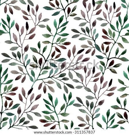 Watercolor seamless pattern with tree branches. Autumn background
