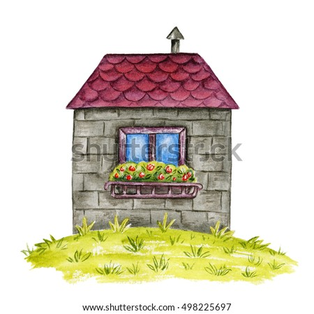 Watercolor stone house. Hand-drawn illustration. Isolated on white.