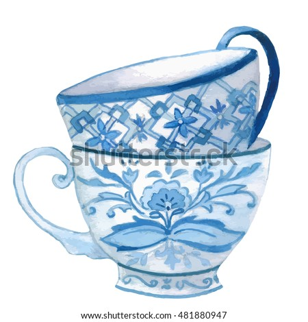 Watercolor teacup, isolated in white, clipart.  Hand painted.