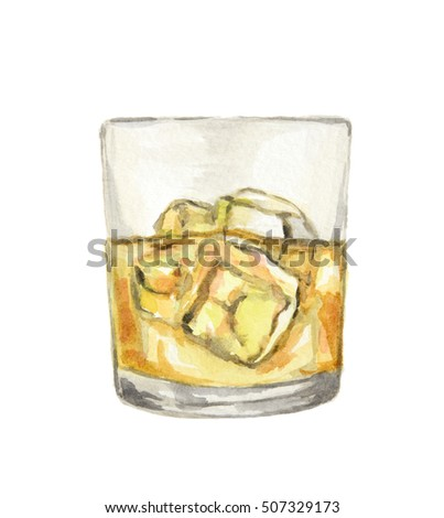 Watercolor whiskey glass with ice cubes on white background. Alcohol beverage. Drink for restaurant or pub.