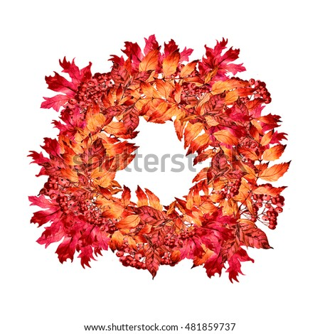 Watercolor wreath of autumn leaves