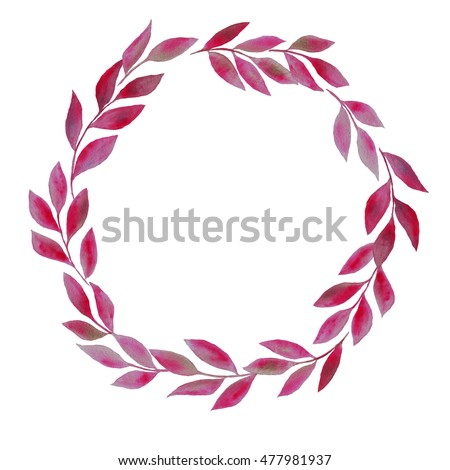 watercolor wreath of pink leaves