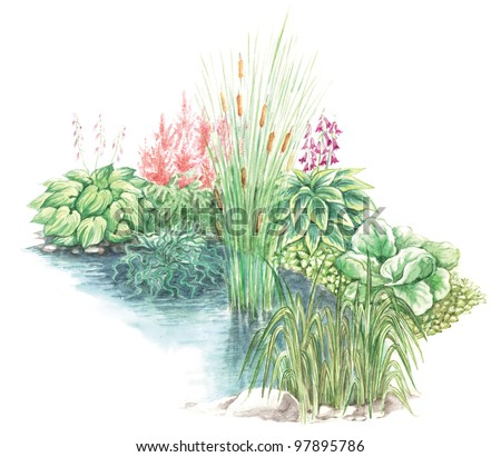 Watercolors hand painted picture of garden design nearly a water body