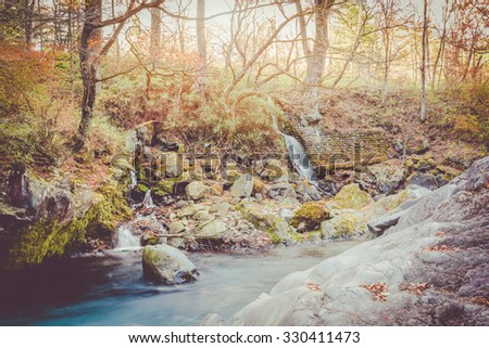 watercourse at nikko, japan sunset vintage