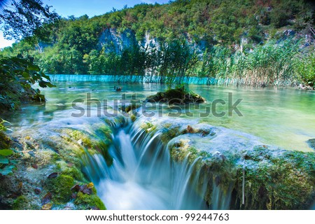 Waterfall and lake