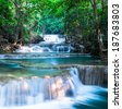 Waterfall at Huay Mae Khamin National Park, Thailand - stock photo