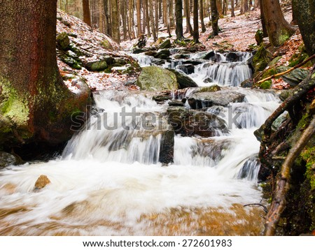 Waterfall in early spring season forest, Giant Mountains, Czech Republic
