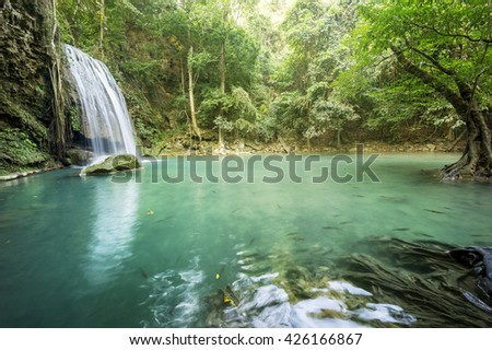 waterfall in Erawan national park , Kanchanaburi , thailand