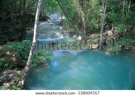 Waterfall in rainforest at Huay Mae Kamin, Kanchanaburi province, Thailand