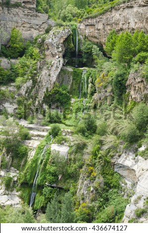 Waterfall in the mountains. Sant Miquel del Fai, Catalonia, Spain