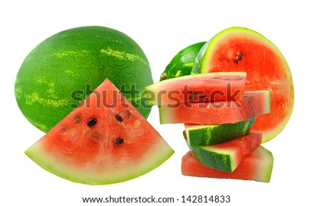Watermelon and watermelon pieces on white background