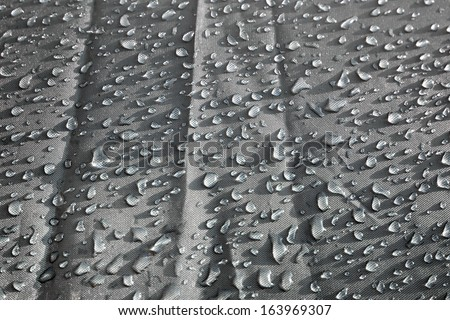 Waterproof textile fabric with raindrops