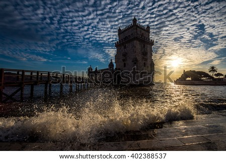 Wave splashing at Belem Tower, Lisbon, Portugal