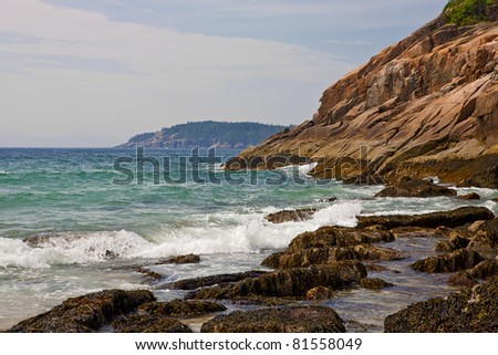 Waves pound the rocky Maine coast at Acadia National Park.